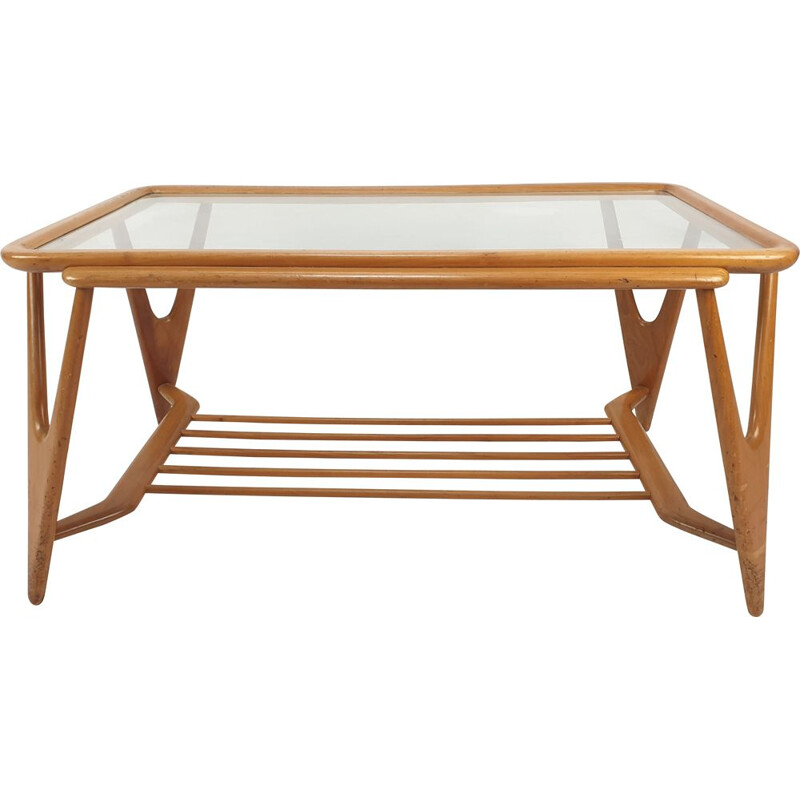 Vintage Walnut Coffee Table Cesare Lacca Italian 1950s