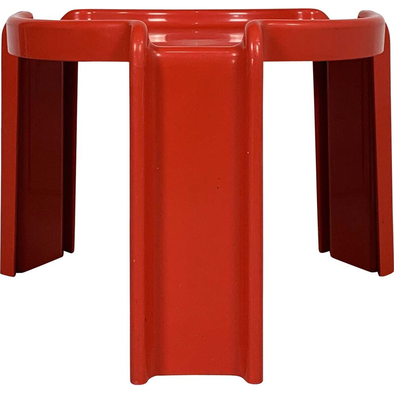 Vintage Red Table by Giotto Stoppino for Kartell, 1970s