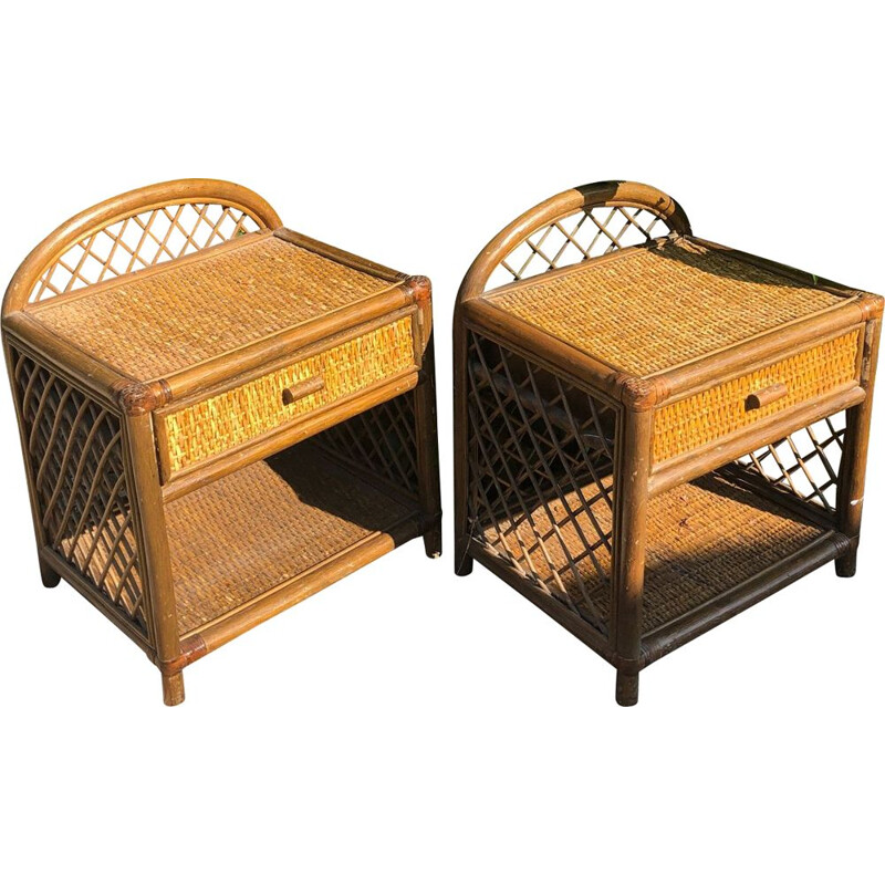 Pair of vintage rattan bedside tables 1980