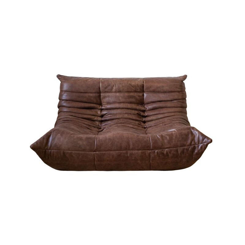 Vintage Togo 2-seat sofa in leather, Michel Ducaroy for Ligne Roset France 1973