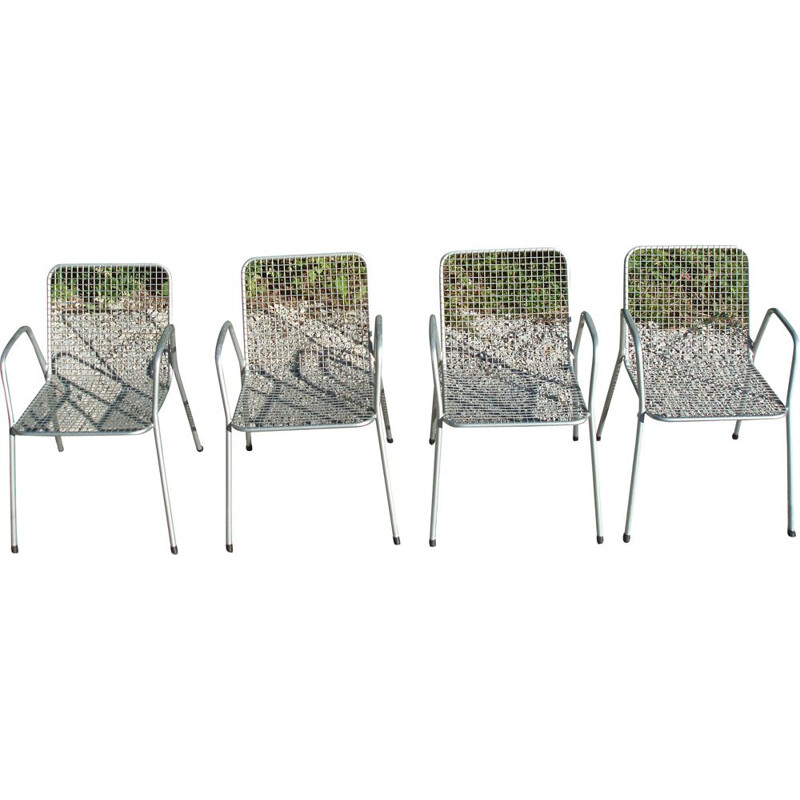 Set of 4 Vintage Emu Italian Grey Vintage Armchairs
