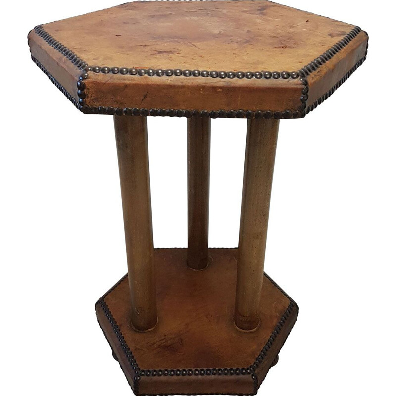 Vintage side table in patinated leather by Otto Schulz for Boet, Scandinavian 1930s