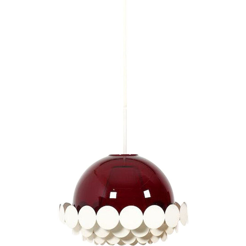 Vintage Doria Pendant Light with Burgundy-Red Glass Lampshade 1960s