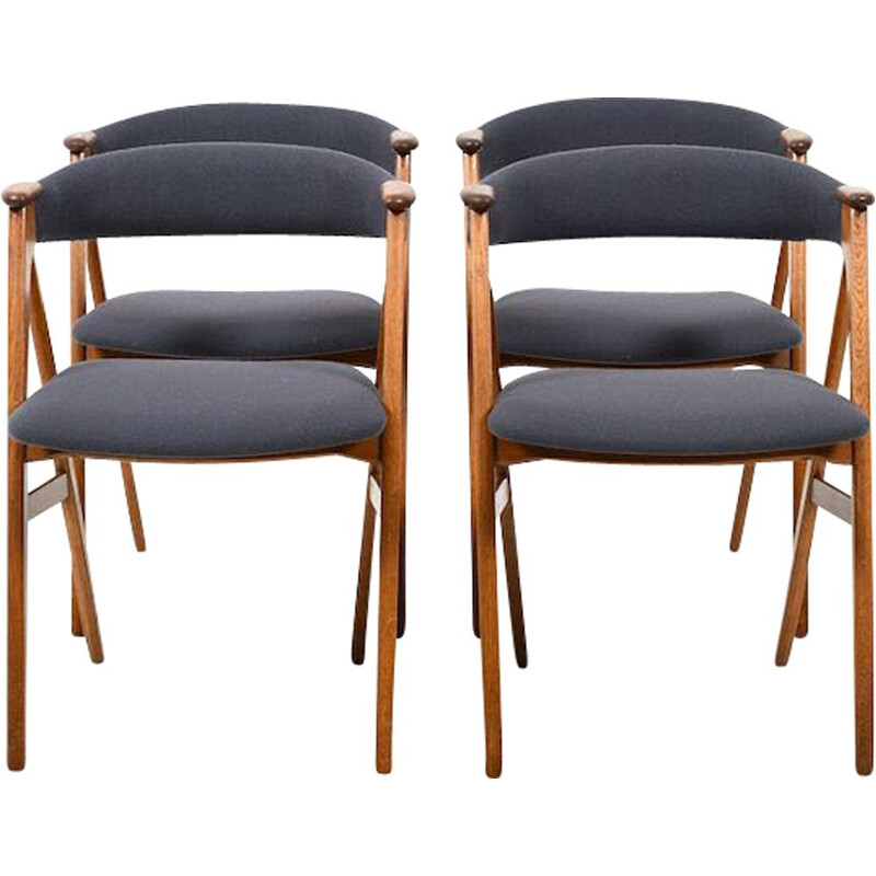Set of 4 Mid Century Dining Chairs in Oak and Teak. New Upholstered Danish 1955