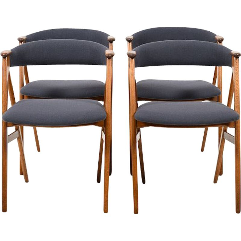 Set Of 4 Mid Century Dining Chairs In Oak And Teak New Upholstered Danish 1955 Design Market