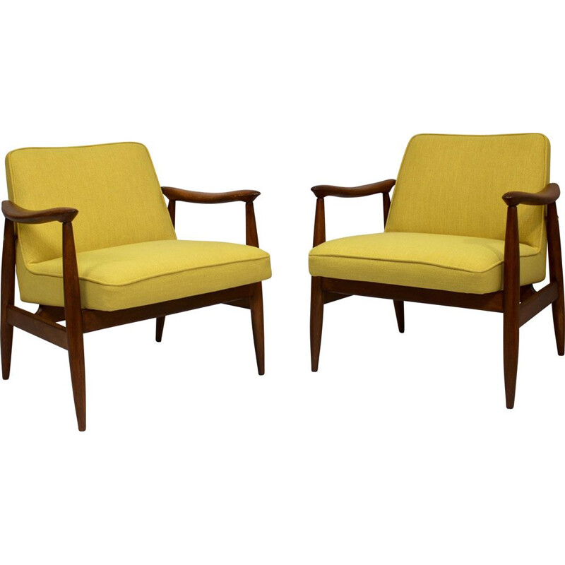 Pair of vintage armchairs GFM-87 Juliusz Kedziorek yellow fabric 1960