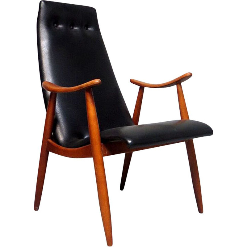 Vintage sculptural armchair in black leatherette, 1950s