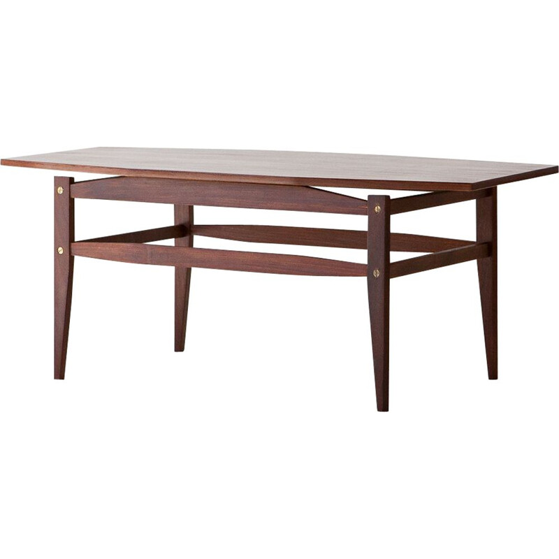 Vintage Mahogany Wood Coffee Table,Italian 1950s