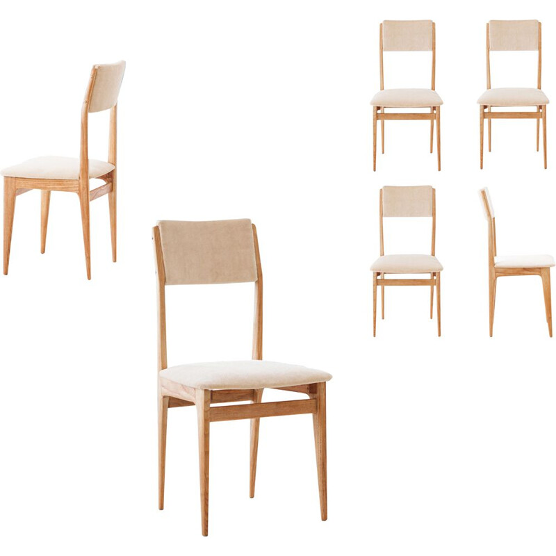 Set of 6 vintage Velvet and Oak Dining Chairs, Italian 1950s