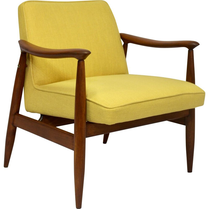 Vintage armchairs GFM-87 Juliusz Kedziorek yellow fabric 1960