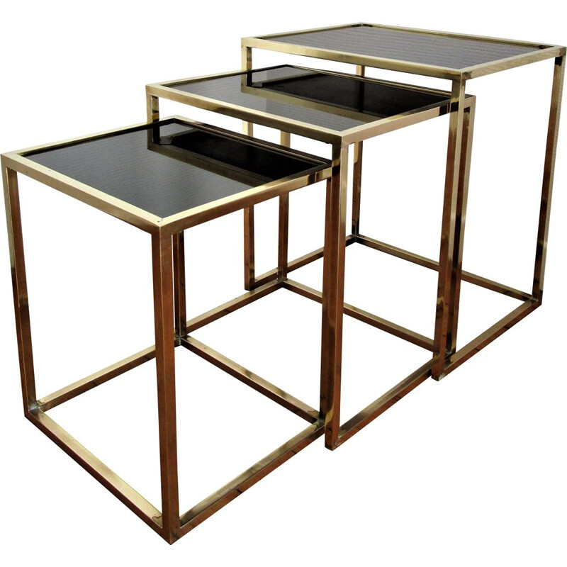 Set of 3 vintage brass and black glass Italian nesting tables 1960