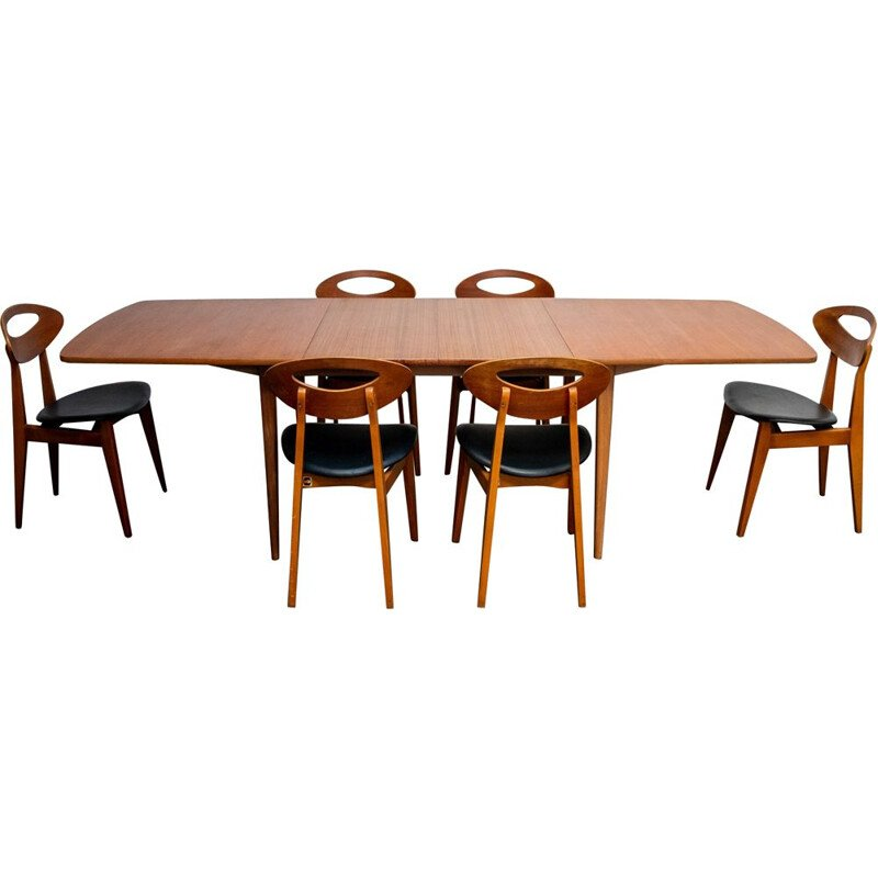 Vintage table and set of 6 chairs by Roger Landault for Sentou France