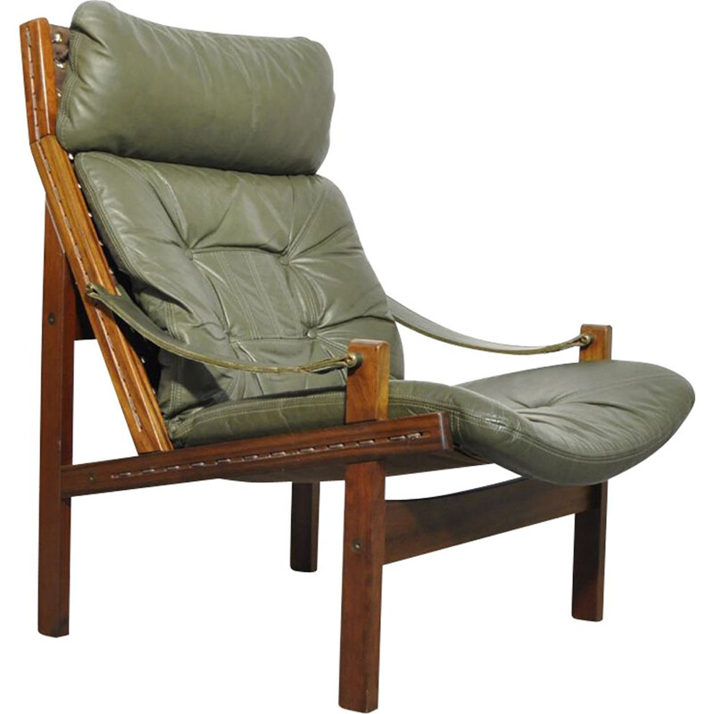 Vintage Easy Hunter safari armchair by Torbjørn Afdal for Bruksbo, Norway 1960s