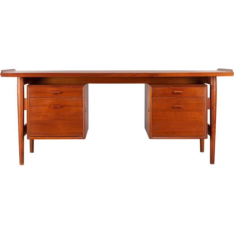 Vintage Midcentury Modern Teak Desk Model 207 by Arne Vodder for Sibast Moller, 1960s