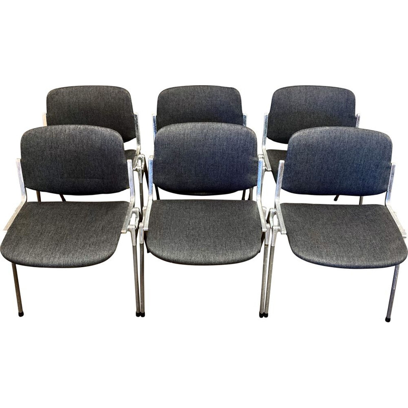 Set of 6 vintage Giancarlo Piretti chairs for Castelli