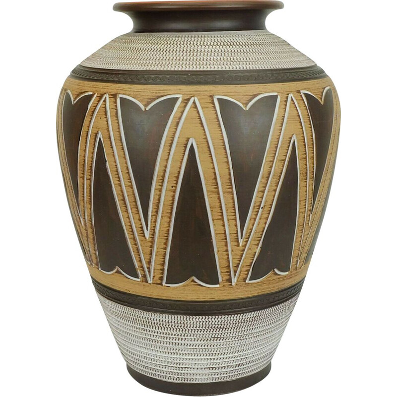Mid century Floor Vase with abstract sgraffito decor 1950