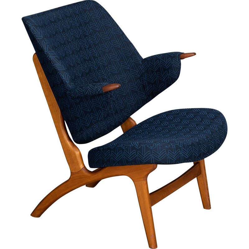 Vintage Danish Blue Model 14L Armchair from Poul Hundevad, 1950s