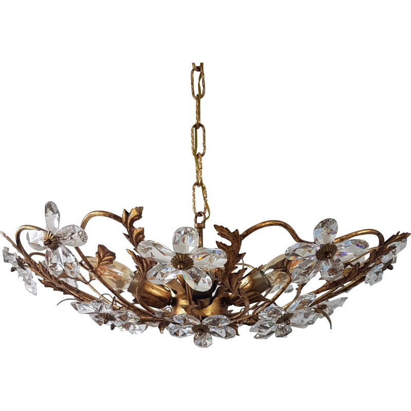 Vintage gold-colored chandelier Coco Chanel with crystal flowers, 1970s