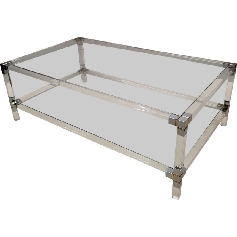 Vintage 2-tiers coffee table, Lucite, gilt & chromed metal 1970s