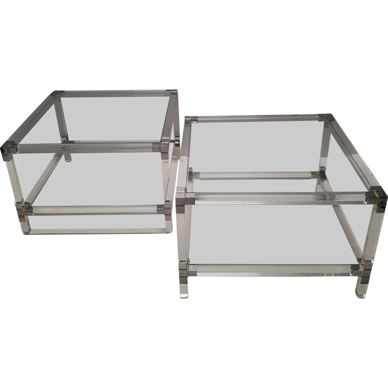 Pair of vintage 2-tiers side tables, lucite, gilt and chromed metal 1970s
