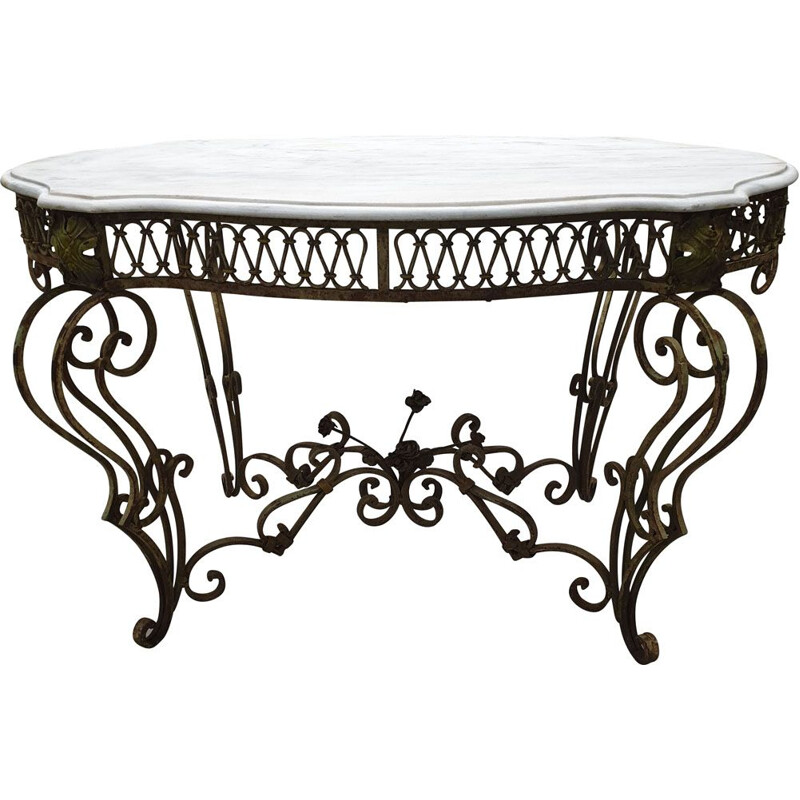 Vintage painted wrought iron & marble table, French 1890