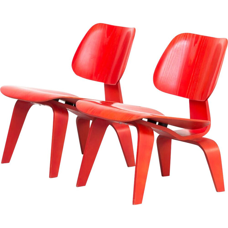 Pair of fauteuils for Vitra Charles and Ray Eames 'lcw' plywood