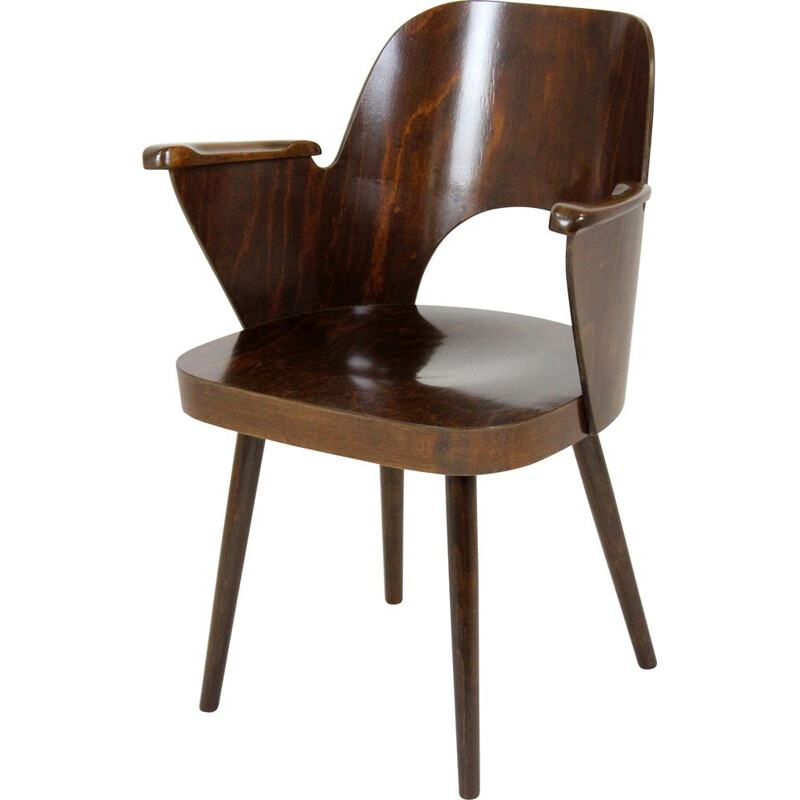 Vintage Wooden Armchair by Lubomír Hofmann for TON, 1950s