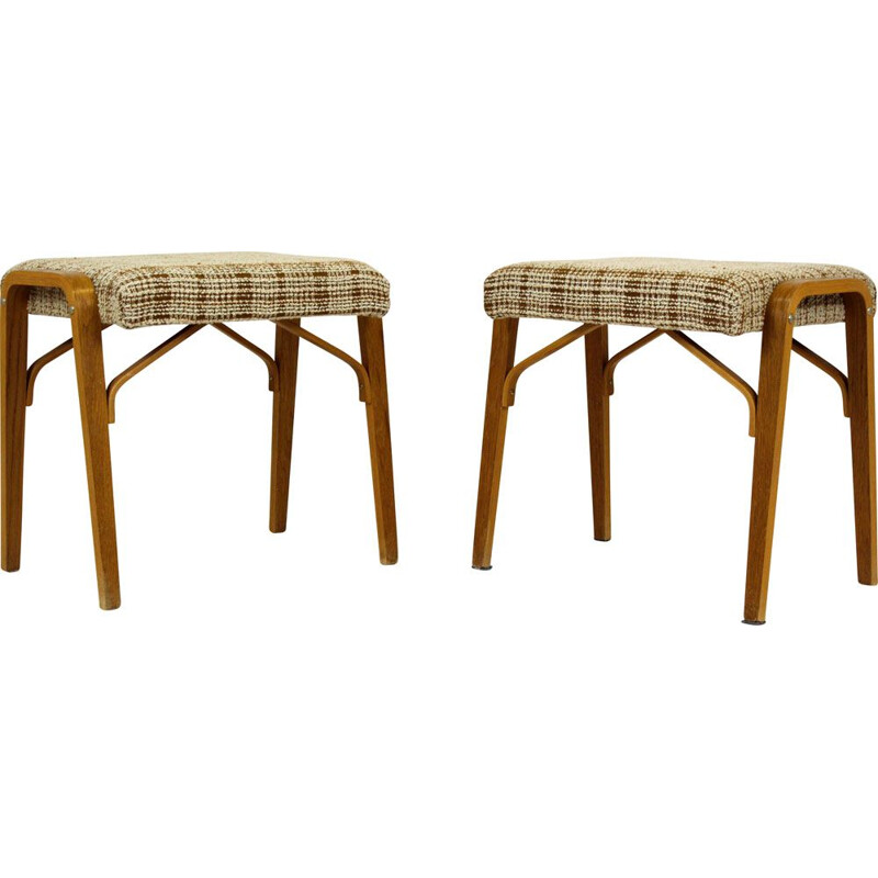 Pair of Mid-Century Bent Plywood Stools from Drevopodnik Holesov, 1960s
