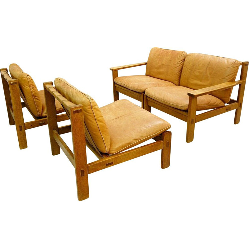 Vintage modular Brazilian style lounge in wood and leather with 4 seats