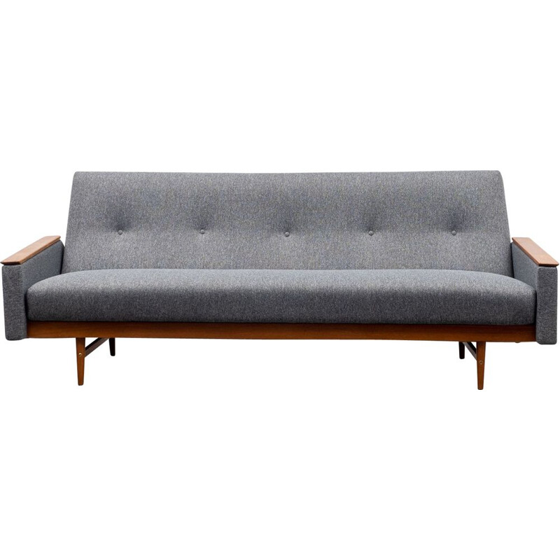 Mid-Century sofa on teak frame, with fold-out guest bed 1960