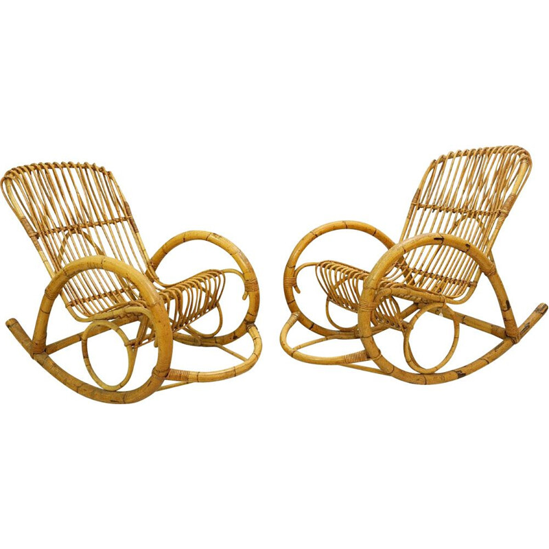 Pair of Vintage Rattan Rocking Armchairs by Rohe Noordwolde