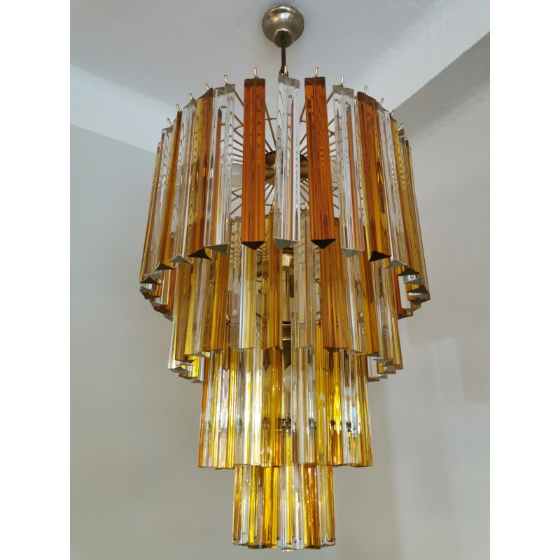70s Chandelier Hanging Light Iridescent Orange Glass Shades Brass Dining Ceiling Light Vintage 1970s