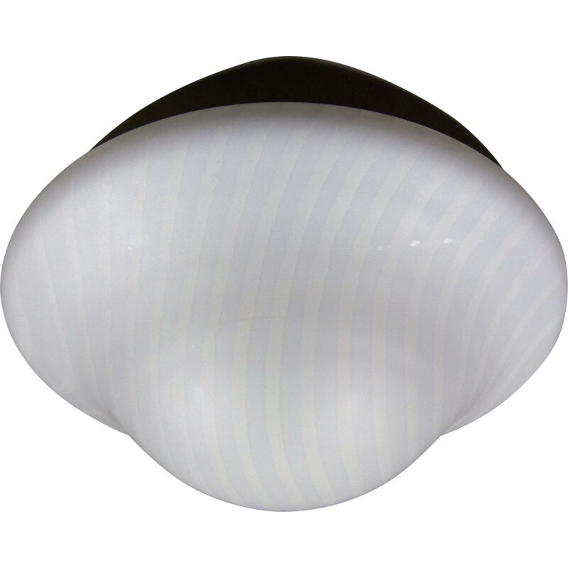Large vintage striped glass ceiling lamp by Peil & Putzler, Germany 1970