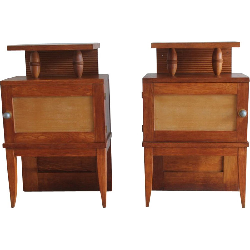 Pair of vintage solid oak bedside tables with 1960 brass handle