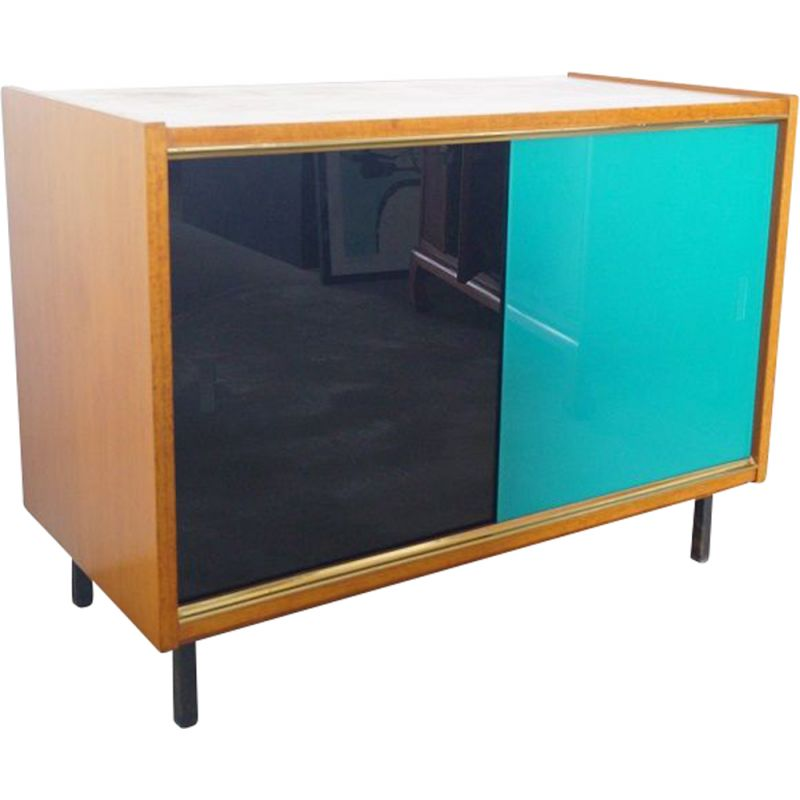 Vintage wood and glass sideboard 1960