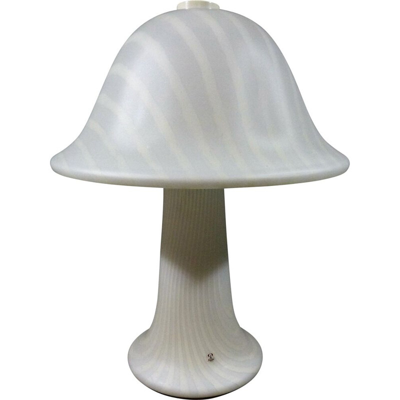 Large vintage striped glass mushroom table lamp by Peill & Putzler, Germany 1970
