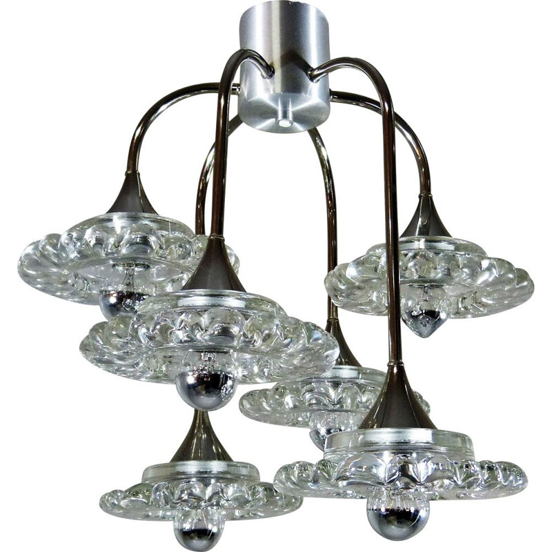 Vintage Glass & Chrome Plated Chandelier by Hillebrand, Germany 1960s