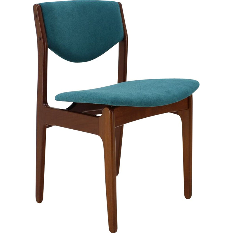 Vintage Teak Blue Side Chair, Denmark 1960s