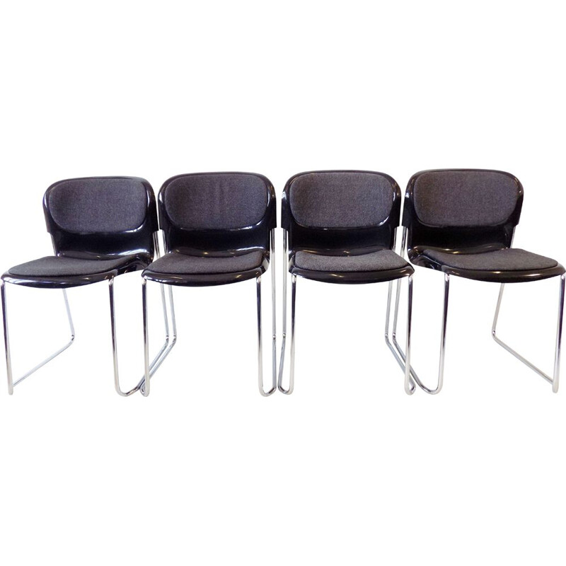 Set of 4 vintage Drabert SM 400 K black stackable chairs by Gerd Lange