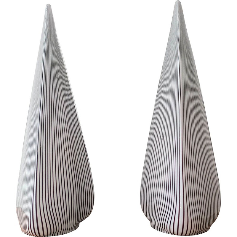 Pair of vintage Glass Pyramid Lamps by Lino Tagliapietra for Vetri Murano, 1982