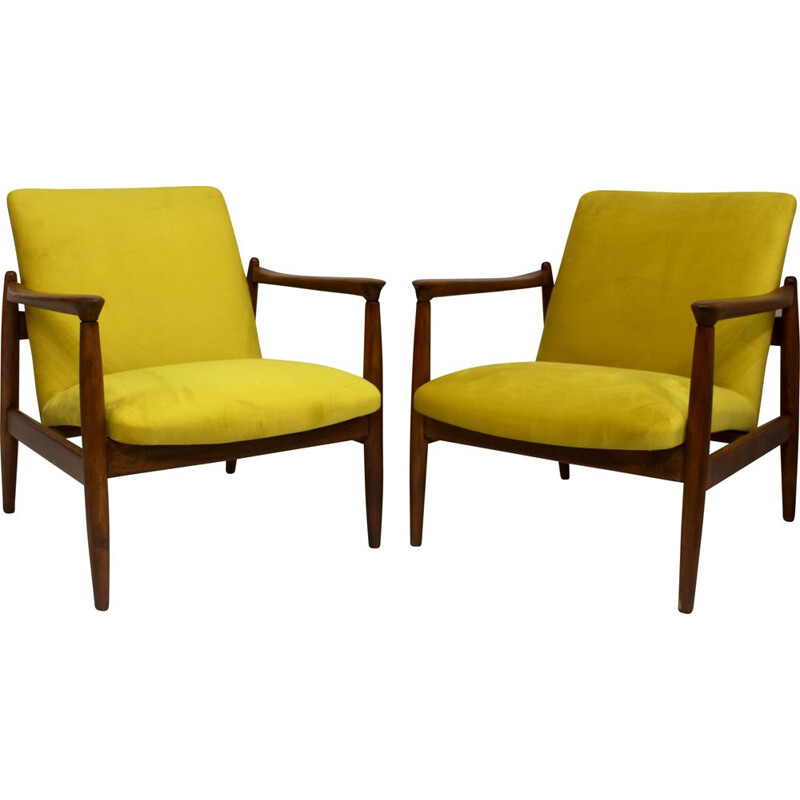 Pair of vintage armchairs GFM-142 Edmund Homa yellow velvet-like fabric 1960