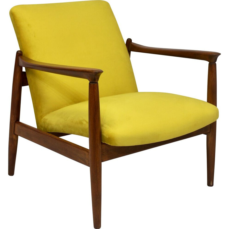 Vintage armchair GFM-142 Edmund Homa yellow velvet-like fabric 1960