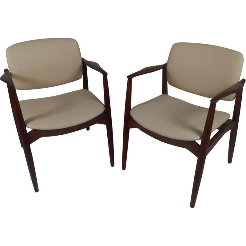 Pair of vintage Model 67 Captains Chair in Teak Reupholstered in Leather Erik Buch 1960s