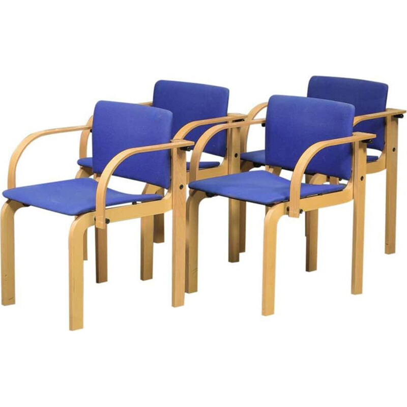 Set of 4 Stackable Beech Dining Chairs by Friis and Moltke 1980s