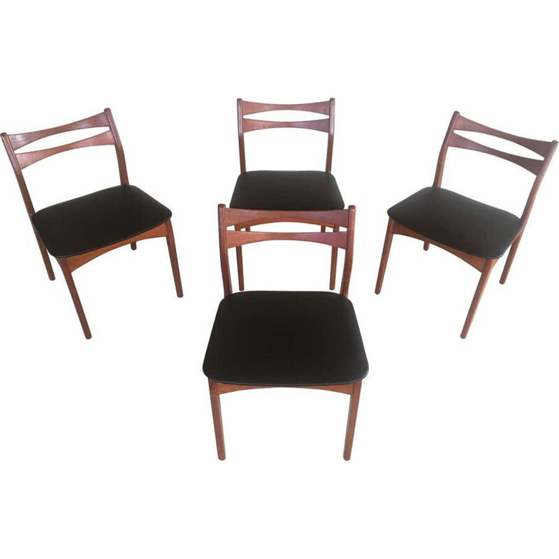 Set of 4  vintage Teak Dining Chairs Reupholstered in Black Faux Leather Danish 1960s