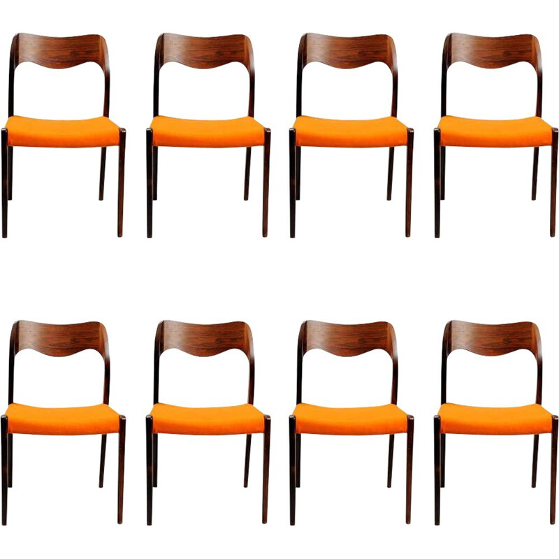 Set of 8 vintage Niels Otto Møller Eight Refinished Rosewood Dining Chairs, Inc. Reupholstery 1951