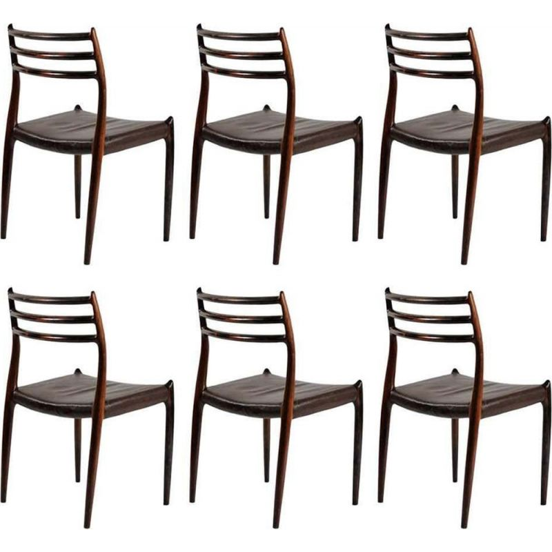 Set of 6 vintage Dining Chairs Refinished N. O. Moller Rosewood  Inc. Reupholstery