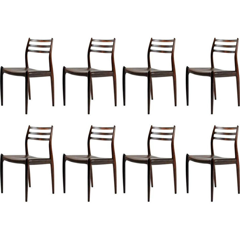 Set of 8 vintage Model 78 Dining Chairs in Rosewood Niels Moller - Inc. Reupholstery 1950s