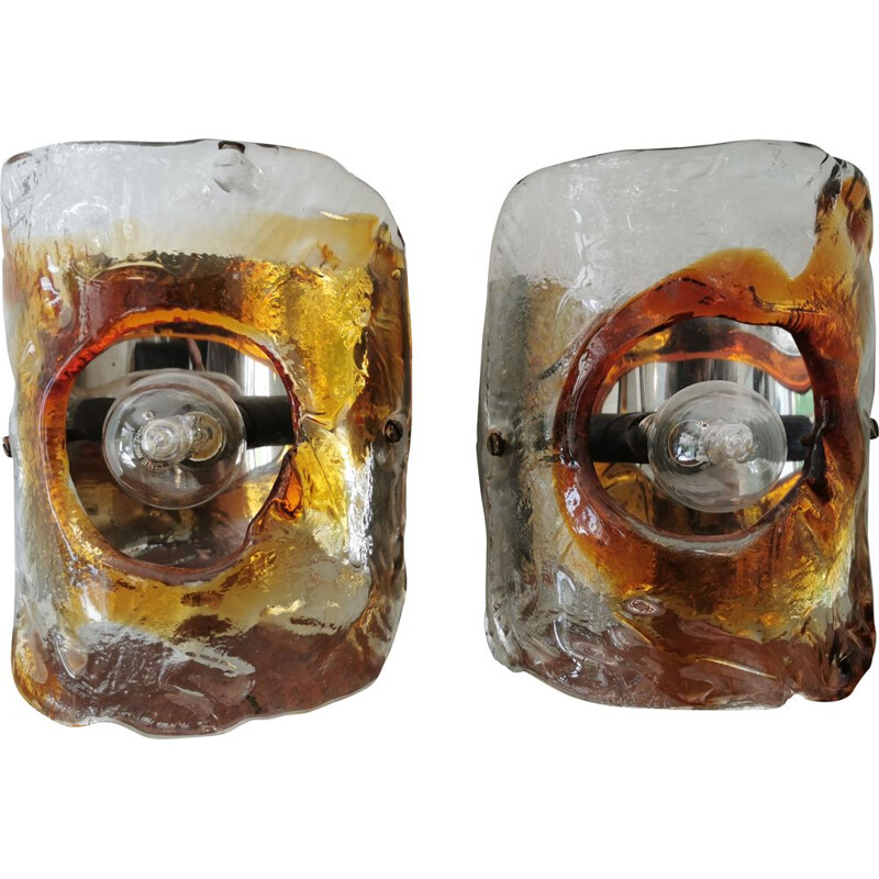 Pair of vintage Murano glass wall lights by Carlo Nason for Mazzega 1970