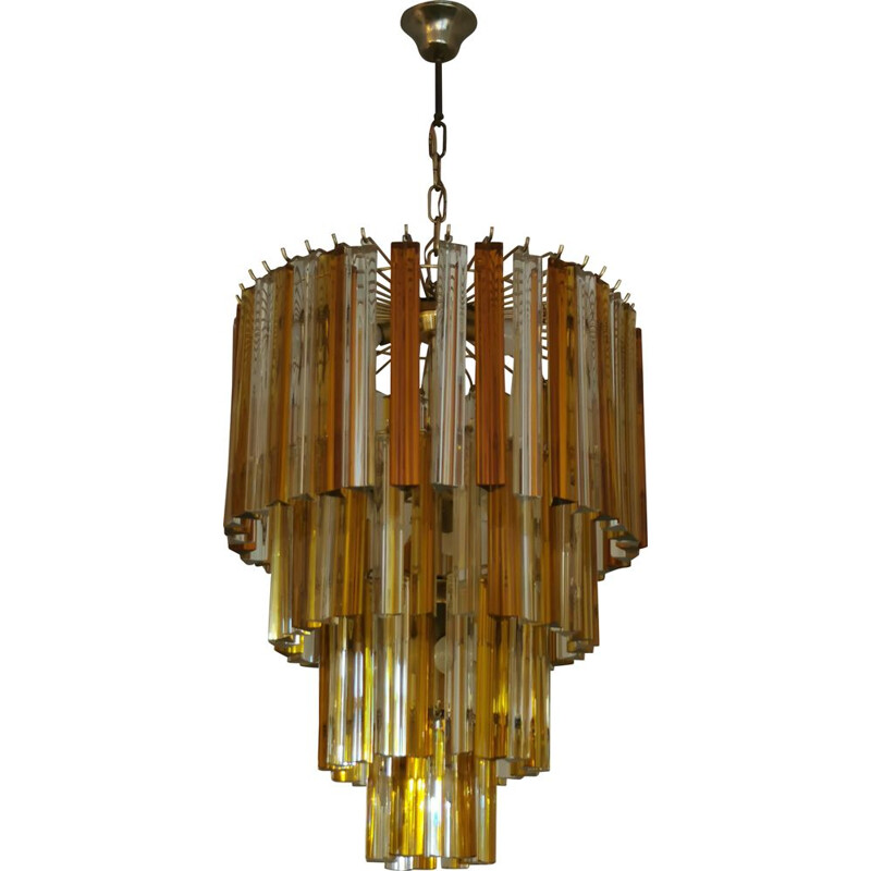 Vintage chandelier XXL Paolo Venini Trièdres in Murano glass for Venini 1970